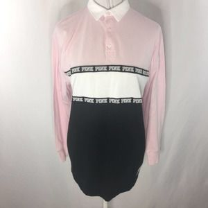NWT VS Pink Rugby Polo Shirt Size Small